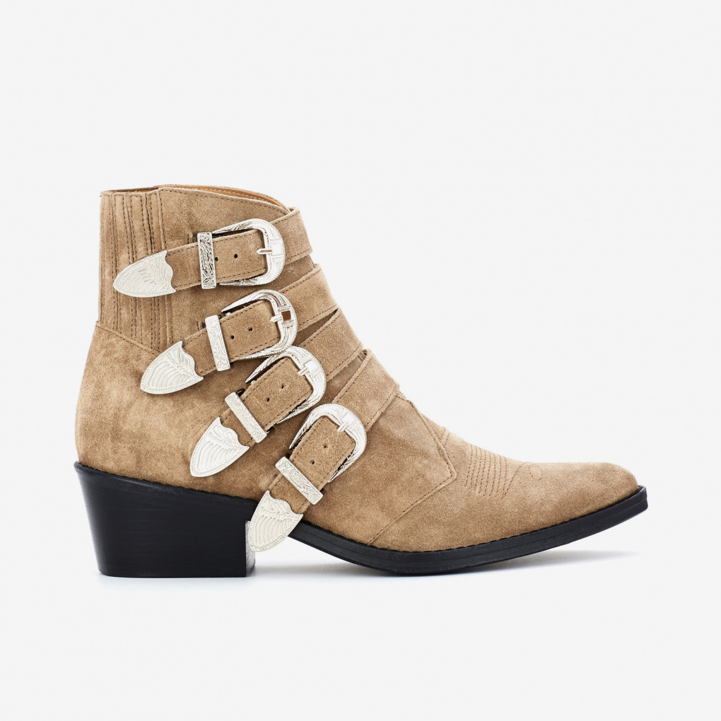 Khaki Buckled Suede Boots