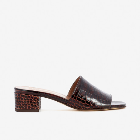 Brown Croco Sophie Slides