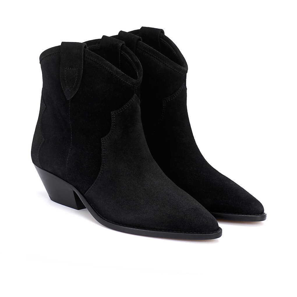 22785f66a79 ISABEL MARANT | Dewina Western Ankle Boots Black Suede | Minimal Nordic